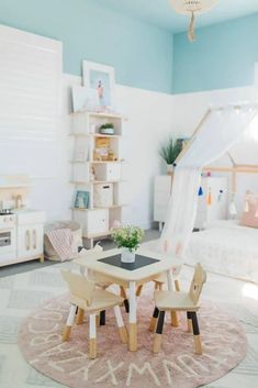 40+ Girl\'s Bedroom Ideas With An Awesome Play Space House Frame Bed, Three Bedroom House Plan, Bed Frame, Bedroom For Girls Kids, Little Girl Rooms, Teen Bedroom, Playroom Design, Kids Room Design, Playroom Ideas