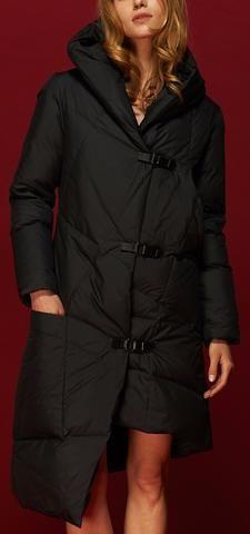 Asymmetric Buckled Hooded Puffer Down Coat in Black