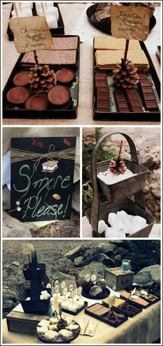 I love smores- and how much more wonderful with Reese's and chocolate graham crackers?  This Mom made the most awesome campout birthday for her boy, Kotah; which by the way is just an equally awesome name!  -KWA