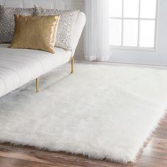 nuLOOM Faux Flokati Sheepskin Solid Soft and Plush Cloud White Shag Rug (5' x 8')