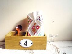 Wood box number plate 4 vintage style natural by SoundOfHome, $6.30