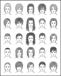 A nut-fuck-ton of basic (male) hairstyle idea references [part 1]. By Dark-Sheikah on DeviantArt.