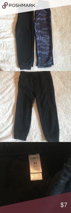 Carter's sweatpants bundle Good used condition. 4T and 5T very close in size (see last photo). Black 4T with tapered ankle and blue camo straight leg. These fit more like 4T. No stains, but the camo ones are a bit faded from being washed. Carter's Bottoms Sweatpants & Joggers