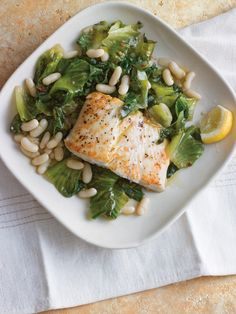 Halibut with Braised Escarole & White Beans