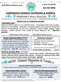 February Specials announced! Chicken Chili, Bacon Spinach Salad, Chix Cord/Bleu, Stuffed Roast Pork Loin OrderDeliverDone.com/menus #CSCcaters