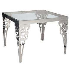 Contemporary Metal Table with Unique Design for Home Furnishings by Lazy Susan Square Paisley Steel