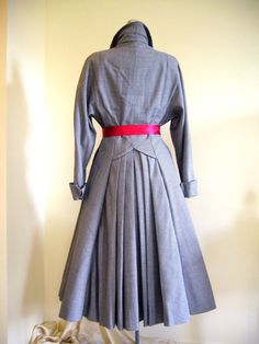 Couture 1950s Grace Kelly Style Navy Houndstooth Wool PRINCESS COAT - Full Circle Bombshell Glamour French Cuffs Amazing Rear Skirt. $290.00, via Etsy.