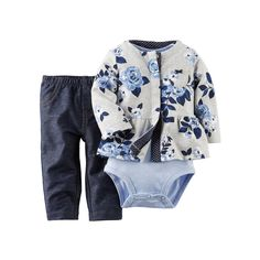 Carters Baby Girls 3-Piece Cardigan Set Heather Floral 3M
