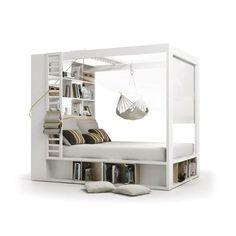 Lit à baldaquin Bibliothèque 4 You - 160 x 200 Sommier à lattes Sans compléments