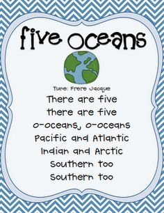 Once Upon a First Grade Adventure: Freebie: 5 Oceans Song