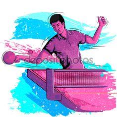 Понятие спортсмен, игра настольный теннис — стоковая иллюстрация #110878124