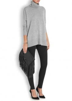 Chrystelle grey roll-neck cashmere jumper