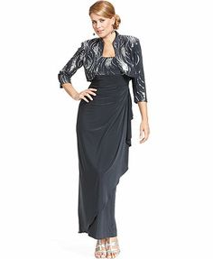 1783d8da8dc Alex Evenings Sequined Ruffled Gown and Jacket   Macy s  189 Pailletten  Kleid