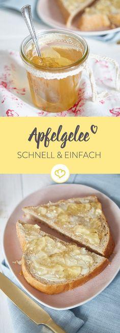 Apfelgelee schmeckt morgens als Brotaufstrich und abends zu Käse. Das fruchtige Gelee aus Apfelsaft verspricht minimalen Aufwand und maximalen Genuss.
