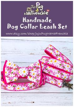 Floral dog Bow tie collar leash set, Girl dog collar accessories, Daisy Flower dog collar, Puppy collar, Female dog collar and leash Girl Dog Collars, Dog Collars & Leashes, Dog Leash, Dog Fails, Handmade Dog Collars, Dog Activities, Pink Dog, Girl And Dog, Outfits