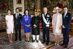 King Carl Gustaf and Queen Silvia, Crown Princess Victoria and Prince Daniel, Sofia Hellqvist and Prince Carl Philip, President Shri Pranab Mukherjee of India the welcoming ceremony at the Royal Palace on May 31, 2015 in Stockholm, Sweden.