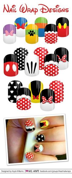 Are you looking for some amazing custom Disney inspired Nail Wraps? These are Jamberry wraps - but not available on their website, you need to email me for the details at cassy36@gmail.com Minnie Mouse, Mickey Mouse