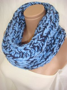 Hand knitted blue, dark blue cowl / neck warmer by Arzu's Style $29.00