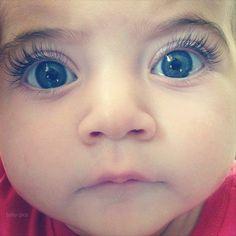 blue eyes, long eye lashes, baby