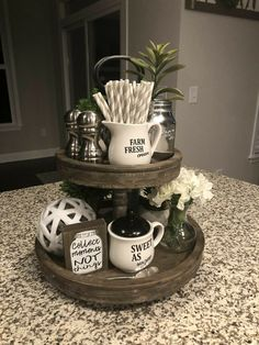 farmhosue kitchen 3 tier stand What is Decoration? Decoration may be the art of decorating the inside and exterior of … 3 Tier Stand, Tiered Stand, Farmhouse Kitchen Decor, Rustic Farmhouse, Farmhouse Style, Farmhouse Ideas, Farmhouse Design, Country Style, Red Kitchen Decor