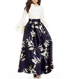 Eliza J Bell Sleeve Collar Top & Printed Ball Skirt
