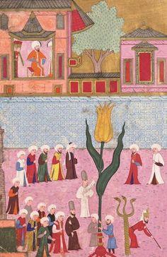Kâğıttan Yapılmış Sarı Lâlenin Atmeydanından Geçirilişi 1587  Procession of Yellow Tulip Made of Paper in Atmeydanı (Hippodrome) Istanbul 1587 Ottoman Empire, Tulip, Istanbul, Painting, Painting Art, Tulips, Paintings, Painted Canvas, Drawings