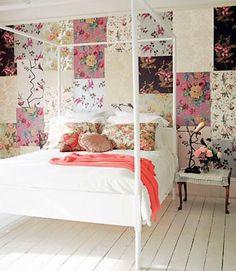 Dicas da Vila do Artesão - Parede forrada com pedaços de tecido num estilo patchwork