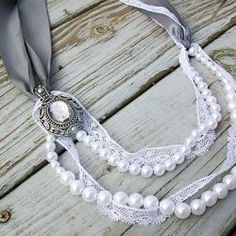 Make this pretty pearl and lace Lanvin-inspired necklace.