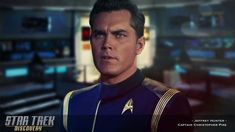 Inspired by the season one finale of Star Trek: Discovery, here's Jeffrey Hunter as Captain Christopher Pike. The second captain to command the US. Star Trek Characters, Star Trek Movies, Watch Star Trek, Star Trek Tos, Fiction Movies, Science Fiction, Star Trek Discovery Captain, Jeffrey Hunter, Star Trek Uniforms