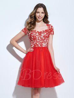 Tbdress.com offers high quality A-Line Scoop Appliques Hollow Cocktail Dress Designer Dresses unit price of $ 115.99.