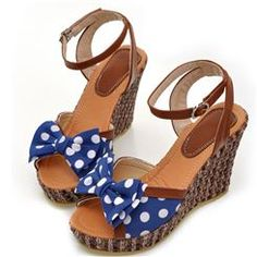 Cute Polka Dots Print Bow Knot Ankle-Strap Sandals