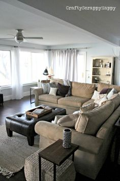 living room idea...maybe go with a more beige sectional?