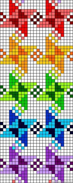 Rainbow windmills X-stitch pattern Cross Stitch Bookmarks, Cross Stitch Borders, Cross Stitch Charts, Cross Stitching, Cross Stitch Embroidery, Cross Stitch Patterns, Bead Loom Patterns, Perler Patterns, Beading Patterns
