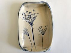 Queen Anne's Lace Ceramic Dish, Symbol of Love