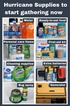 It's never too early to get your emergency supplies together for season! With the Atlantic hurricane season starting June it's never too early to get your emergency supplies together Hurricane Emergency Kit, Hurricane Preparedness Kit, Hurricane Kit, Emergency Preparedness Food, Emergency Food Storage, Emergency Preparation, Emergency Supplies, Survival Prepping, Survival Skills