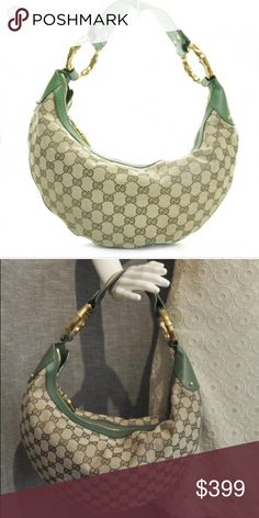 51abedf9e7a2 GUCCI Monogram Web Bamboo Ring Hobo Green AUTHENTIC GUCCI MONOGRAM PURSE.  Great condition 1 minor