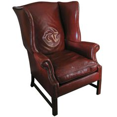 leather wingback library chair deep cordovan color