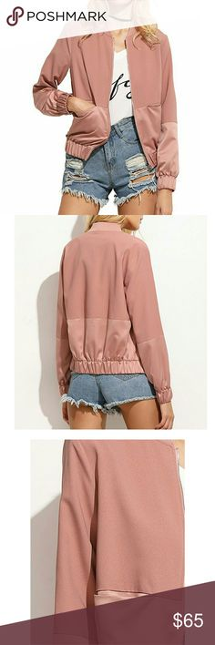 Blush Bomber Jacket Bomber jacket, light and perfect for spring,  BNWT, brand for exposure Brandy Melville Jackets & Coats