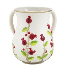 Ceramic Washing Cup for Ritual Hand Washing with Pomegranate Motif
