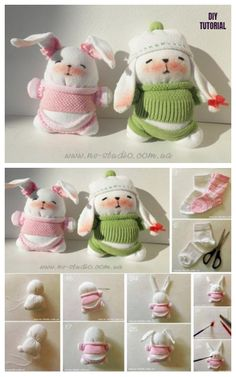 Sew Sock Bunny DIY Tutorials Round Up - Cute Sock Bunny Couple DIY Tutorial How to Make a Bunny out of Socks? An old sock that has lost its partner can have a new life as a bunny with all these fun and easy… Animal Sewing Patterns, Stuffed Animal Patterns, Doll Patterns, Diy Sock Toys, Sock Crafts, Rabbit Crafts, Bunny Crafts, Sock Bunny, Sock Dolls