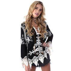 Elegant crochet floral lace blouse shirt Women 3/4 sleeve white Tunic blouses Boho 2017 Summer Girls hollow top Renda Blusas