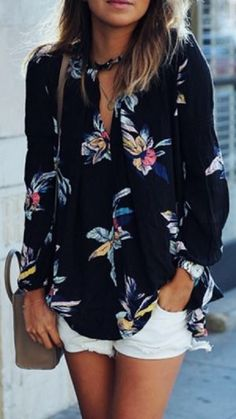 Looks I LOVE! V-Neck Colorful  Navy Blue Floral Print Long Sleeve Shirt #Colorful #Navy_Blue #Pink #Floral #Bohemian #Style #Shirt #Fashion