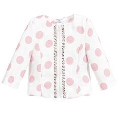 Monnalisa Girls Pink & White Polka Dot Jacket ss16