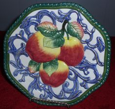 """FITZ FLOYD Classics Florentine Canape Fruit (APPLES) Wall Plate  9"""" Retired Plate Sets, Plates On Wall, Apples, Fruit, Classic, Tableware, Painting, Ebay, Derby"""