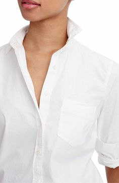 Main Image - J.Crew New Perfect Cotton Poplin Shirt (Regular & Petite)