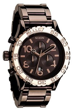 Chocolate makes everything better! Nixon 'The 42-20 Chrono' Watch available at #Nordstrom