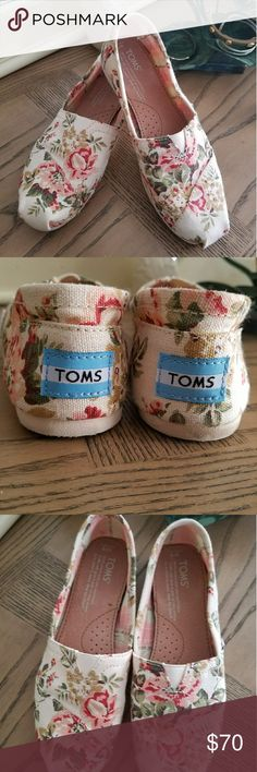 Toms size 5 shabby chic Brand new condition, worn 2x. I bought 2 pair, and my mom bought me a pair unknowingly so I need to downsize. Sadly i cant return them. Just looking to make my money back. These are hard to find. No trades and price is firm. Toms Shoes Flats & Loafers