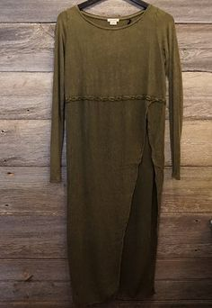 Asymmetrical Olive Dress. This one is a show stopper! Visit: www.indigobleufashion.com #fashion #womenfashion #bohemian #indigobleufashion