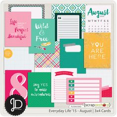 Everyday Life '15 - August   3x4 Cards by Juno Designs at Scrap Orchard
