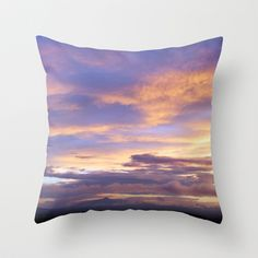 Lavender Light Throw Pillow by Pajaritaflora - A gentle sky in lavender and blue. Mountains, sky, sunset, dusk, clouds, pink,purple